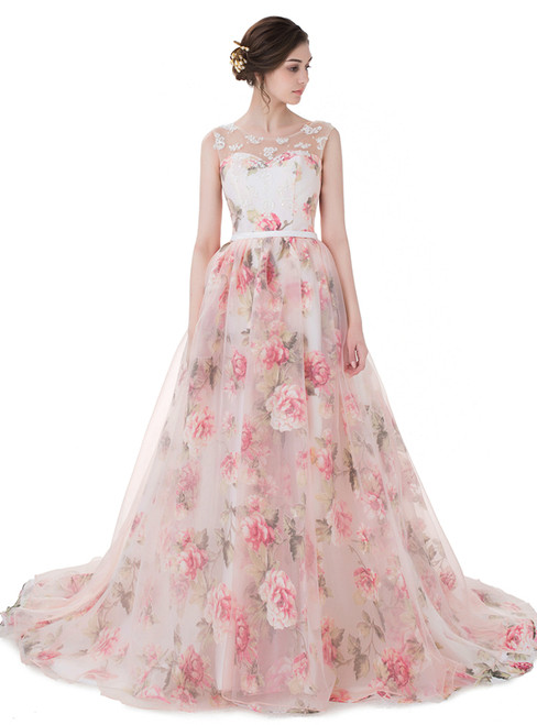New Arrival Sexy Pink Chiffon Print Backless With Pearls Wedding Dress