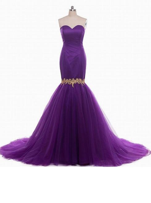 Purple Mermaid Strapless Sweetheart Prom Wedding Dress Formal Dresses