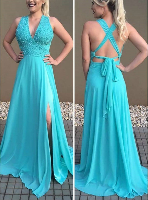 Deep V neck Sleeveless Prom Dresses Backless Sexy Sweep train Bridesmaid Dresses