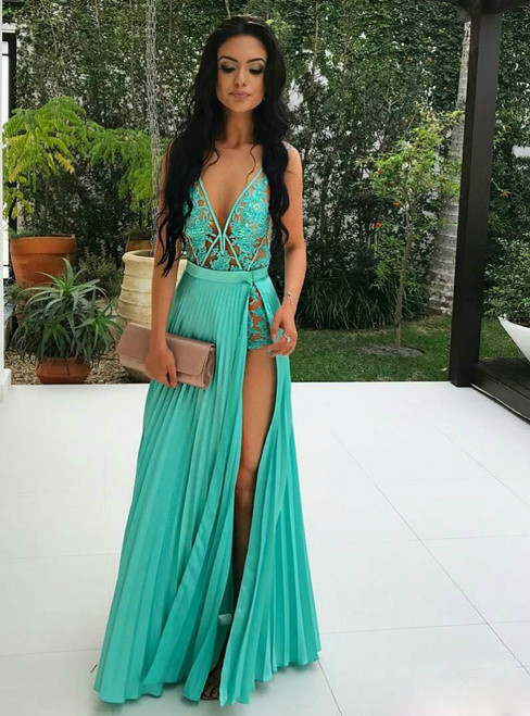 A-line Deep V Neck Appliqued Prom Dresses Sexy Floor Length Prom Gown