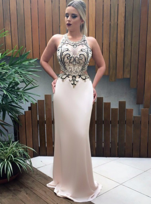 Champagne Mermaid Prom Dresses With Backless Beading Evening Gowns Formal Dress