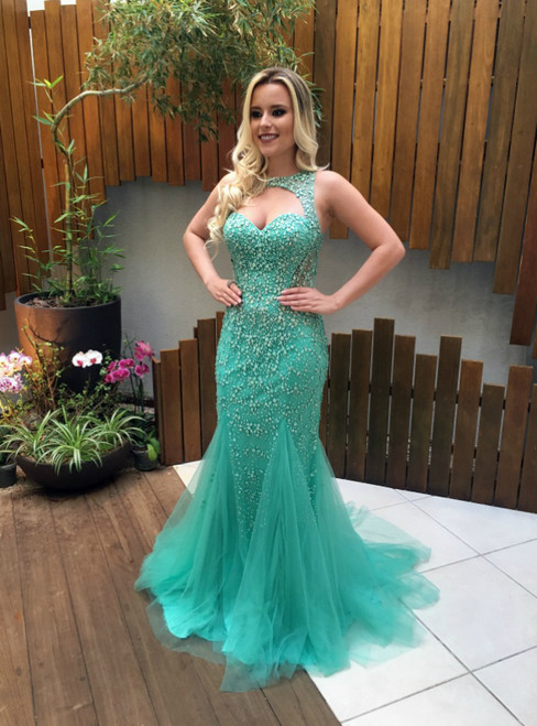 Luxury Beading Sexy Mermaid Prom Dress Backless Evening Gowns Party Dress