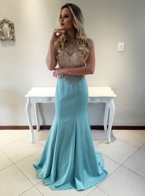 Sexy Backless Mermaid Prom Dress With Crystal Beading Long Formal Evening Gowns Party Dress