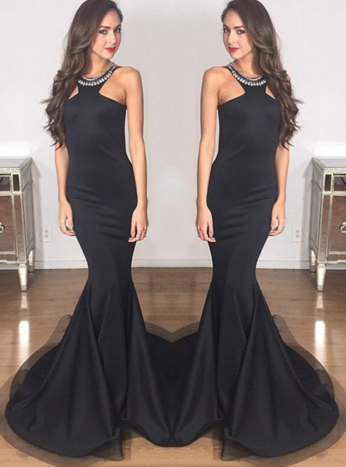 Black Prom Dress Mermaid Beaded Evening Gowns Long Sexy Formal Dress Party Gowns