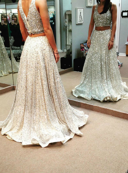 A-line Two Piece Bare Midriff Prom Dresses,Shiny Sweep Train Prom Gown