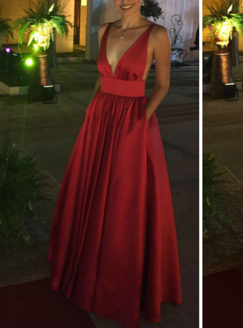 Plunge Neck Prom Dress Burgundy Bridesmaid Dress Backless Evening Gowns