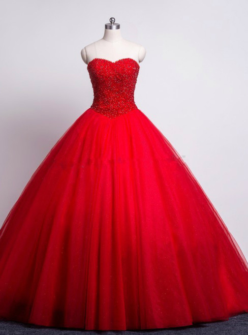 Red Prom Quinceanera Dresses Sweetheart Beaded Corset Tulle Ball Gown