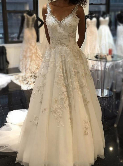 Sexy V Neck Floral Lace Appliqued A-line Lace Wedding Dresses