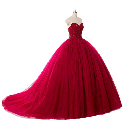 Red Ball Gown Wedding Dresses Princess Puffy Red Lace Bridal Dresses for Women 2017