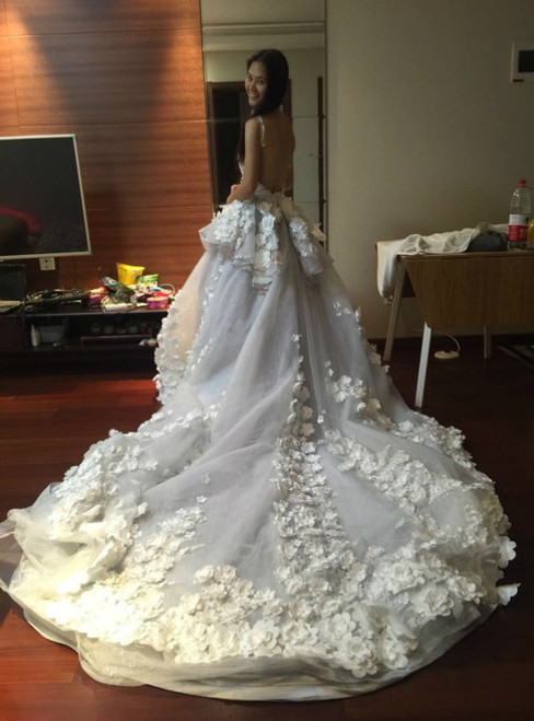 A-line Blue Tulle Lace Appliques Wedding Dress With Long Train