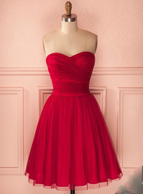 Tulle Knee Length Party Dress A Line Homecoming Dress With Ruched Bodice