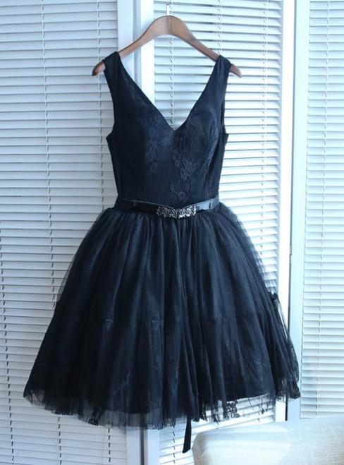 Black V-neck Short/Mini Prom Dress Juniors Homecoming Dresses