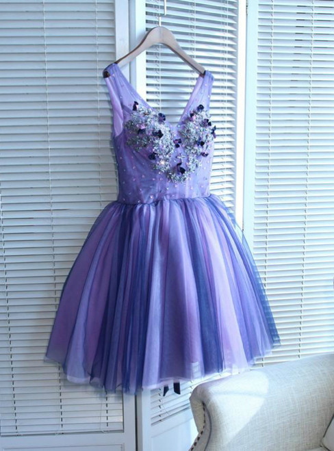 V-Neck Short/Mini Prom Dress Juniors Homecoming Dresses