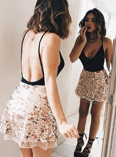 Spaghetti Straps A-Line Homecoming Dresses Short Prom Dresses