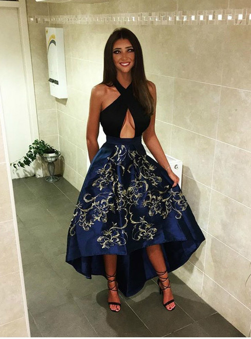 Sexy Embroidery Satin High Low Prom Dresses Long 2018