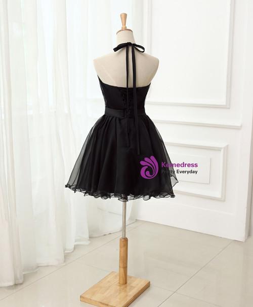 Cute Little Black Short  Homecoming Dresses Halter Short Prom Dresses