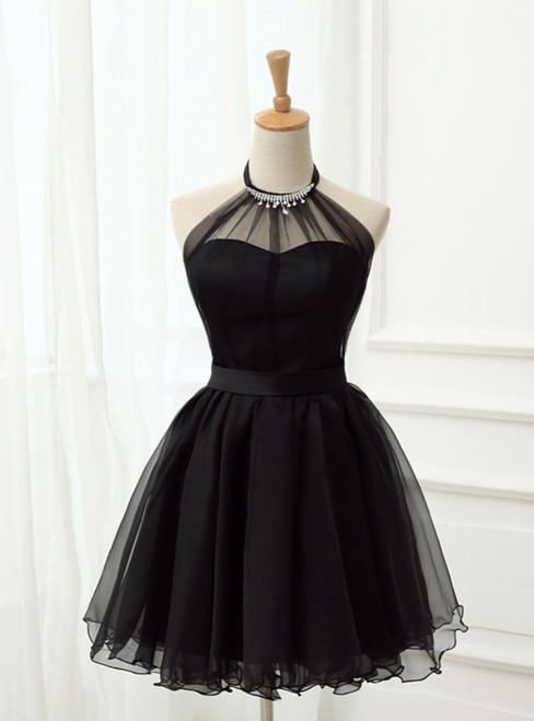 Cute Little Black Short  Homecoming Dresses Halter Short Prom Dresses