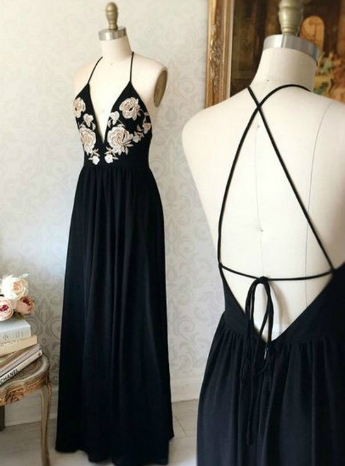 Black Chiffon Spaghetti Straps Backless Embroidery Prom Dress