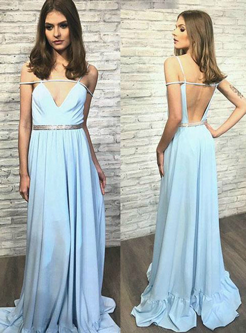Blue V Neck Backless Long Prom Dress blue Evening Dress