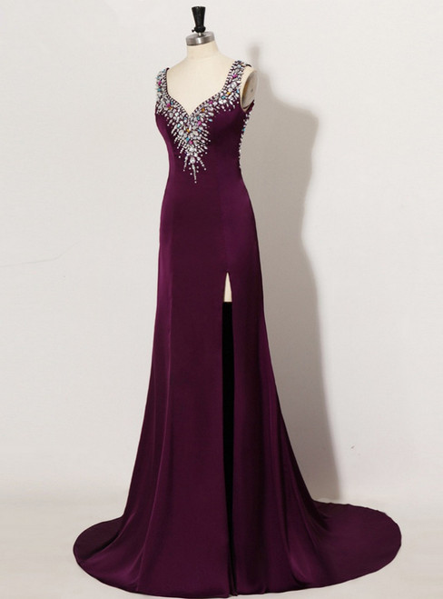 Advanced Sexy Backless Crop Top Rhinestone Long Purple Prom Dresses
