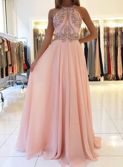 Long Backless Formal Gowns Beaded Party Dresses for Women