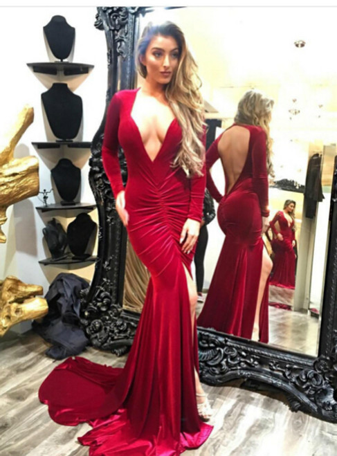 Deep V-neck Dark Red Long Sleeves Open Back Long Evening Dress