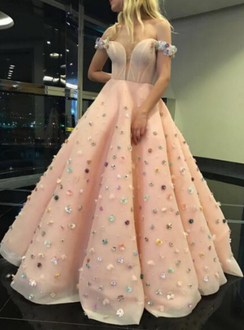 Pink Ball Gown Off The Shoulder Appliques Prom Dress