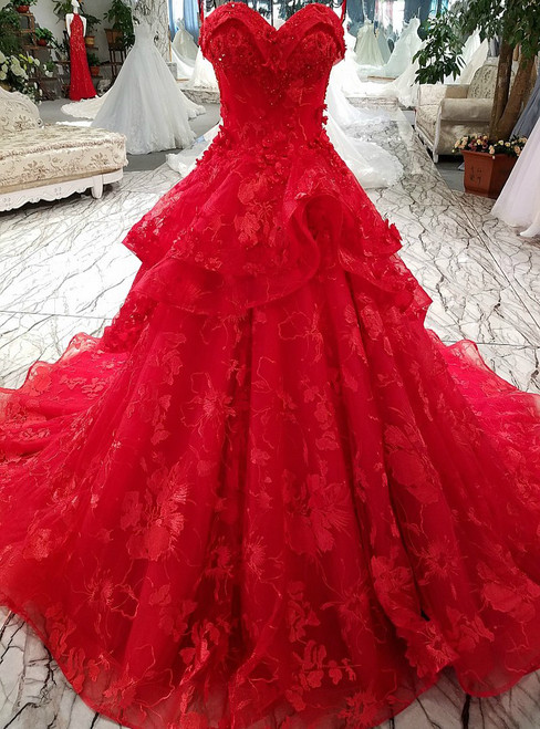 Princess Lace Flowers Luxury Generous Sweetheart Red Appliques Wedding Dress