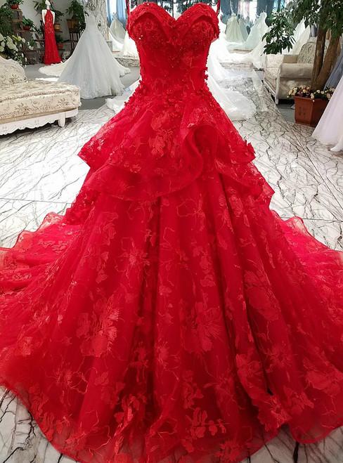 Princess Lace Flowers Luxury Generous Spaghetti Strap Red Wedding Dress