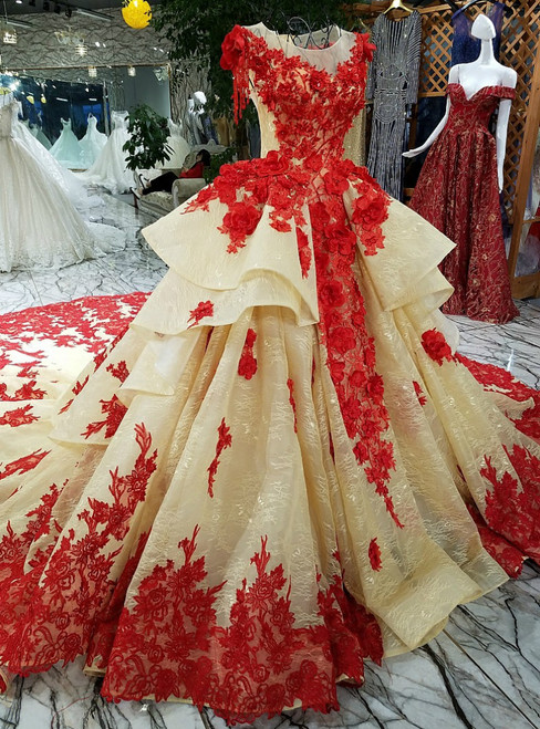 Fashionable Ball Gown Red Flowers Prom Dress With Lace Wedding Dress