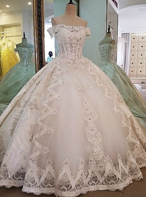 Attractive Bridal Gown Lace Beading Off the Shoulder Ball Gown Lace Wedding Dress