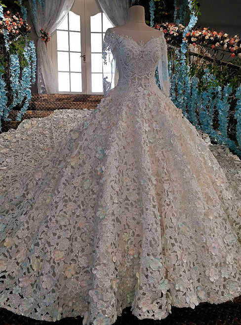 Luxury wedding dress for bridal beaded long sleeves lace wedding gown