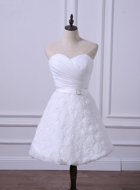 Hot Sale Short Wedding Reception Dresses Cheap White/Ivory Bridal Gown