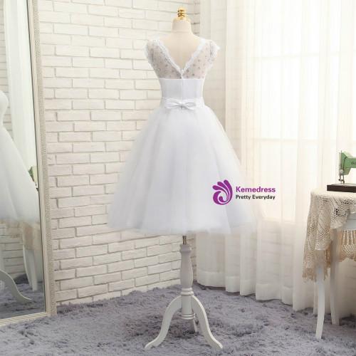 2017 Short Wedding Dresses A-line Tea Length Tulle Crystals Bow Backless