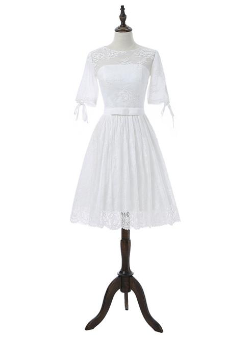 2017 Short Wedding Dresses A-line Half Sleeves Short Lace Beach