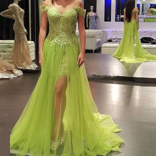Off Shoulder Long Prom Dress,Tulle Prom Dresses