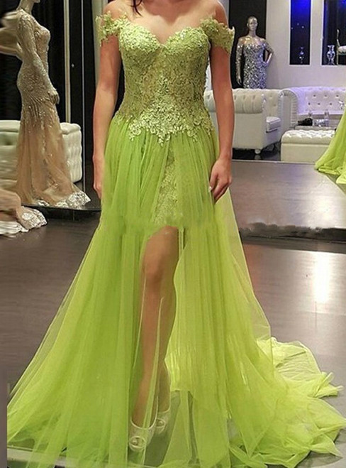 Off Shoulder Long Prom Dress Tulle Prom Dresses