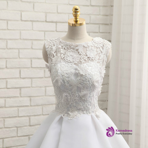 2017 Short Wedding Dresses A-line Short Mini Appliques Chiffon Lace Vintage