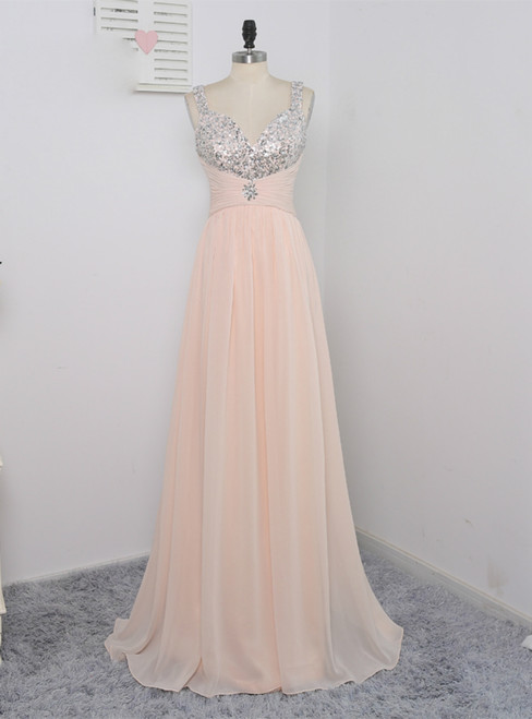 2017 Prom Dresses A-line Spaghetti Straps Sequins Crystals Sexy Long Prom Gown