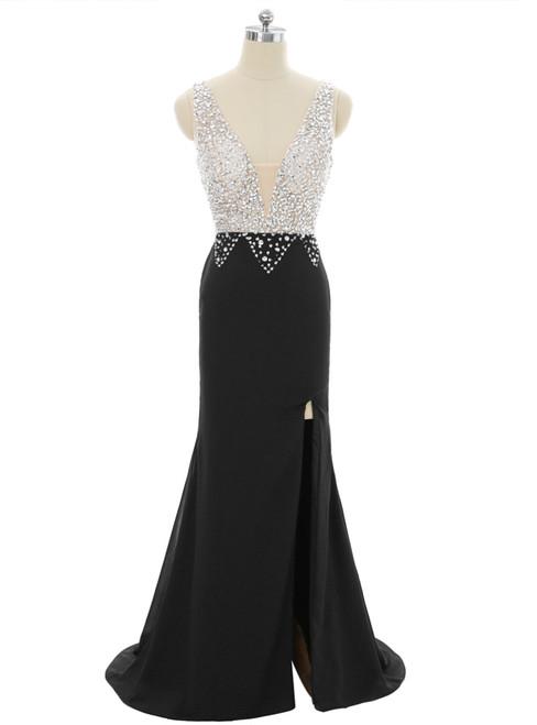 2017 Prom Dresses Mermaid V-neck Beaded Crystals Slit Sexy