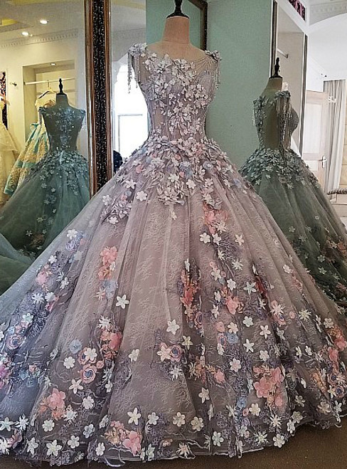 Real Photos Evening Dress Lace 3D Flowers Ball Gown Long Party Formal Dress
