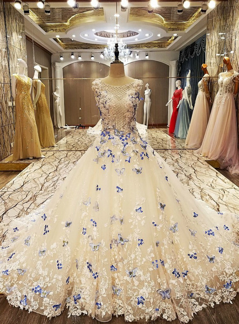 A Line Elegant Party Evening Dresses Long With Butterfly Lace Wedding Dress