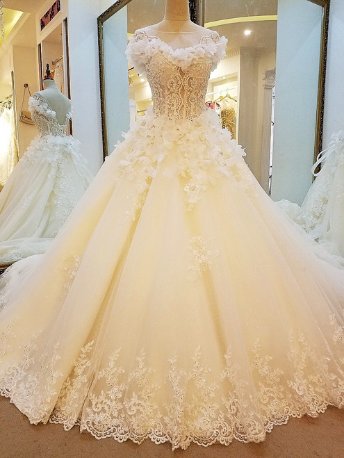 Ball Gown Corset Back Lace Appliques Wedding Gowns