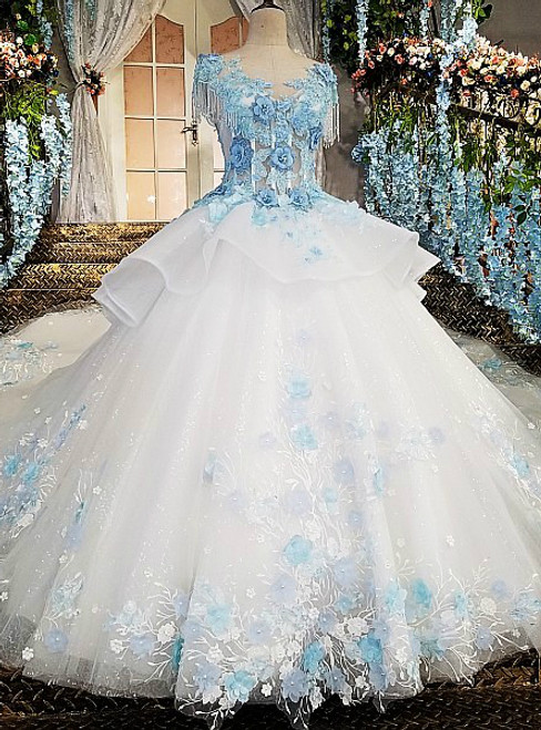Ivory Wedding Dress With Blue Lace Flowers Online Shop