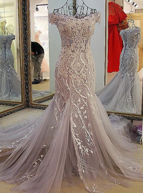 Gray Mermaid Off Shoulder Appliqued Lace Formal Prom Dress