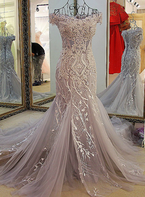 Gray Mermaid Off Shoulder Appliqued Lace Formal Prom Dress