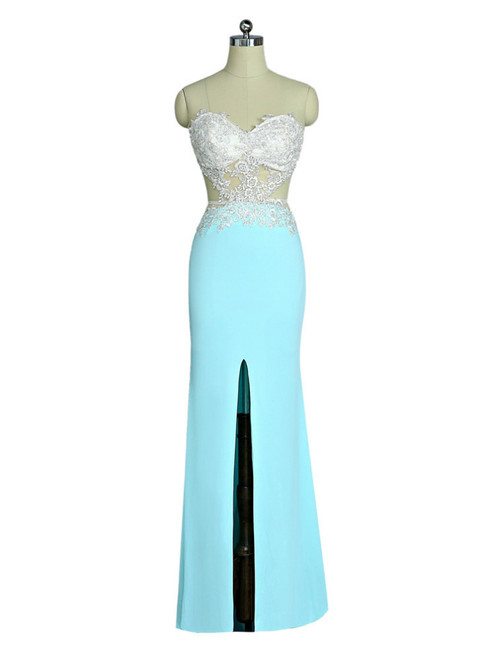 2017 Prom Dresses Mermaid Sweetheart Lace Slit Sexy Open Back Women Long Evening Dresses