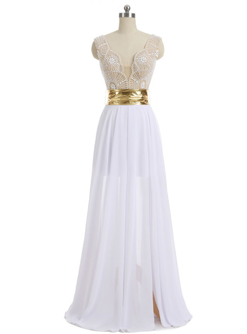 A-line V-neck Cap Sleeves Floor Length Chiffon Pearls Slit Prom Gown