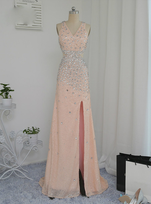 Open Back 2017 Prom Dresses A-line V-neck Champagne Slit Sexy Sequins Crystals