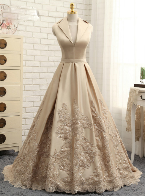 2017 Champagne Prom Dresses A-line V-neck Cap Sleeves Satin Appliques Lace Prom Gown